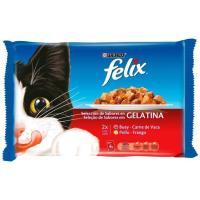 Alimento húmedo de carne para gato FÉLIX, pack 4x100 g