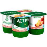 Activia 0% con melocotón DANONE, pack 4x125 g