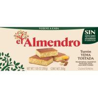 Turrón de yema tostada sin azúcar EL ALMENDRO, caja 200 g