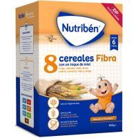 Papillas 8 Cereales con miel-fibra NUTRIBEN, caja 600 g