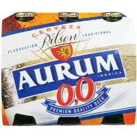 Cerveza sin alcohol 0,0% AURUM, pack 6x25 cl