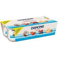 Yogur sabor de fresa-coco-frutas del bosque DANONE, pack 8x120 g