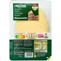 Queso Mozzarella EROSKI, lonchas, bandeja 200 g