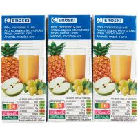 Bebida de piña EROSKI, pack 6x200 ml