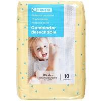 Protector para cama de bebe 60x60 EROSKI, paquete 10 unid.