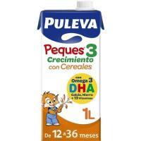 Leche de crecimiento con cereales PULEVA Peques 3, brik 1 litro