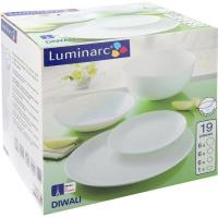 Vajilla Diwali, opal, 19 pzas, llanos 25cm, hondos 20cm, postre 19cm y ensaladera
