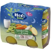 Potito de verdura con pasta HERO Buenas Noches, pack 2x190 g