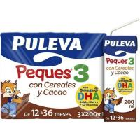 Leche con cereal-cacao PULEVA Peques 3, pack 200 ml
