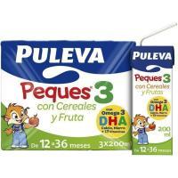 Leche crecimiento Peques cereal-fruta PULEVA  3, pack 3x200 ml