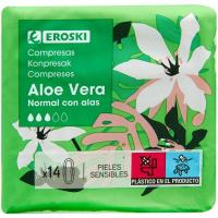 Compresa aloe normal EROSKI, paquete 14 unid.