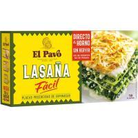 Lasaña fácil con espinacas EL PAVO, 18 placas, caja 200 g