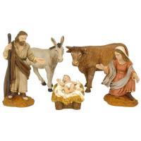 Figuras para Belén de Navidad, Nacimiento de durexina, 8 cm, set 5 uds