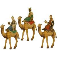 Figuras para Belén de Navidad, Reyes a camello de durexina, 8 cm, set 3 uds