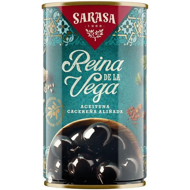 Aceitunas negras especiadas SARASA, lata 185 g
