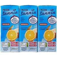 Néctar de naranja sin azúcar EROSKI Sannia, pack 6x20 cl