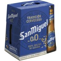 Cerveza sin alcohol 0,0 SAN MIGUEL, pack botellín 6x25 cl