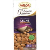 Chocolate con leche-almendras sin azúcar VALOR, tableta 150 g