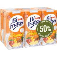 Bifrutas sabor tropical con leche PASCUAL, pack 6x200 ml