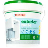 Pintura plástica de exterior rendimiento 9-12m2/l color blanco mate EROSKI, 12+3l