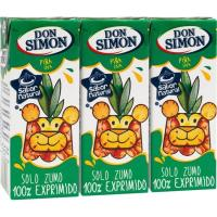 Zumo de piña exprimida DON SIMON, pack 3x20 cl