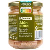 Atún claro en aceite de oliva EROSKI, frasco 185 g