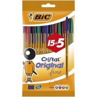 Bolígrafo colores:8 azul, 5negro, 4rojo, 3verde, punta 0.8mm Cristal BIC, 20uds
