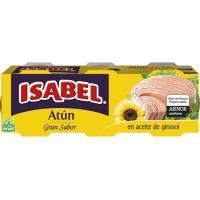 Atún en aceite de girasol ISABEL, pack 3x70 g