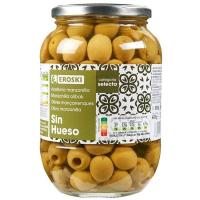 Aceitunas verdes sin hueso EROSKI, frasco 400 g