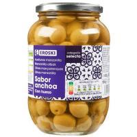 Aceitunas verdes sabor anchoa EROSKI, frasco 500 g