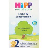 Leche de continuación HIPP Bio 2, caja 600 g