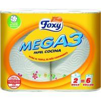 Papel de cocina mega3 FOXY, paquete 2=6 rollos