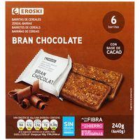 Barritas bran con chocolate EROSKI, 6 unid., caja 240 g