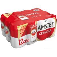 Cerveza AMSTEL, pack lata 12x33 cl