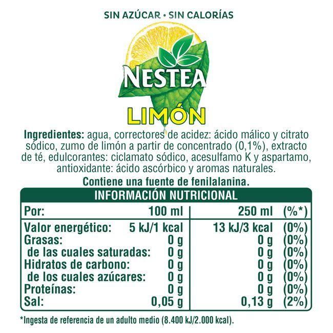 Té al limón sin azúcar NESTEA, botella 1,5 litros
