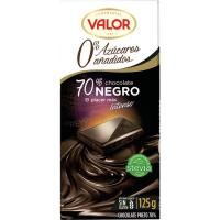 Chocolate negro 70% sin azúcar cacao VALOR, tableta 125 g
