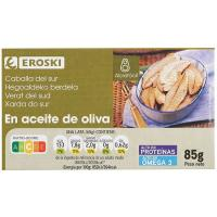 Filete de caballa del sur en aceite de oliva EROSKI, lata 85 g