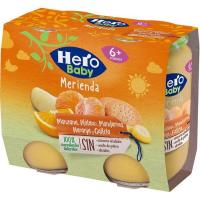 Merienda de mandarina-manzana-galleta HERO, pack 2x190 g