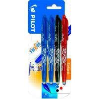 Boligrafo tinta gel borrable:2azul, 1negro, 1rojo, punta 0.7mm Frixion PILOT, 4uds