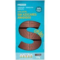 Chocolate con leche sin azúcar EROSKI, tableta 125 g