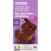 Chocolate negro sin azúcar EROSKI, tableta 125 g