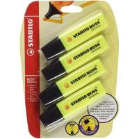 Marcador fluorescente color amarillo Boss STABILO, pack 4uds