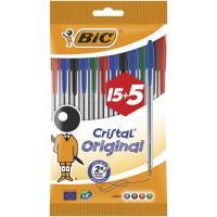 Bolígrafo colores:8 azul, 5negro, 4rojo, 3verde, punta 1.0mm Cristal BIC, 20uds