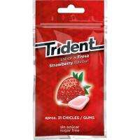 Chicle de fresa sin azúcar en gragea TRIDENT, paquete 43,5 g