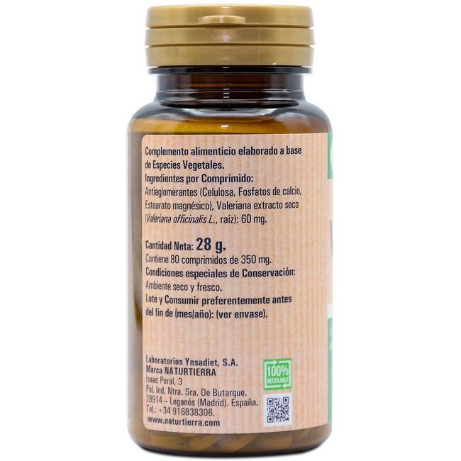 Valeriana NATUR TIERRA, bote 80 cápsulas