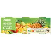 Frutas variadas en almibar EROSKI, pack 3x125 g