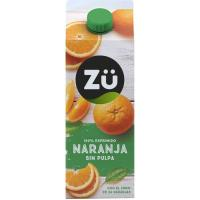 Zumo de naranja exprimido sin pulpa ZÜ PREMIUM, brik 2 litros