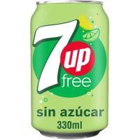 Refresco de lima-limón sin azúcar 7UP, lata 33 cl