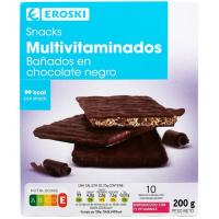 Snacks de chocolate negro EROSKI, caja 200 g