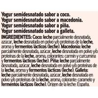 Yogur de coco-macedonia-piña-galleta EROSKI basic, pack 8x125 g